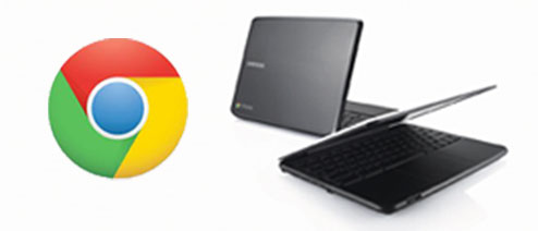 Chrome logo and 2 chromebooks