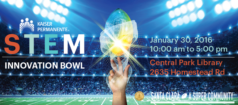 STEM Innovation Bowl logo image of hand reaching for a digital football