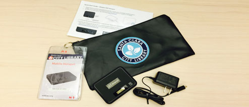 Library hotspot, power supply, bag and information card