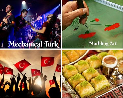 Turkish Day feauturing Turkish Band Mechanical Turk, Turkish Marbling Art, Baklava, and Turkish flags.