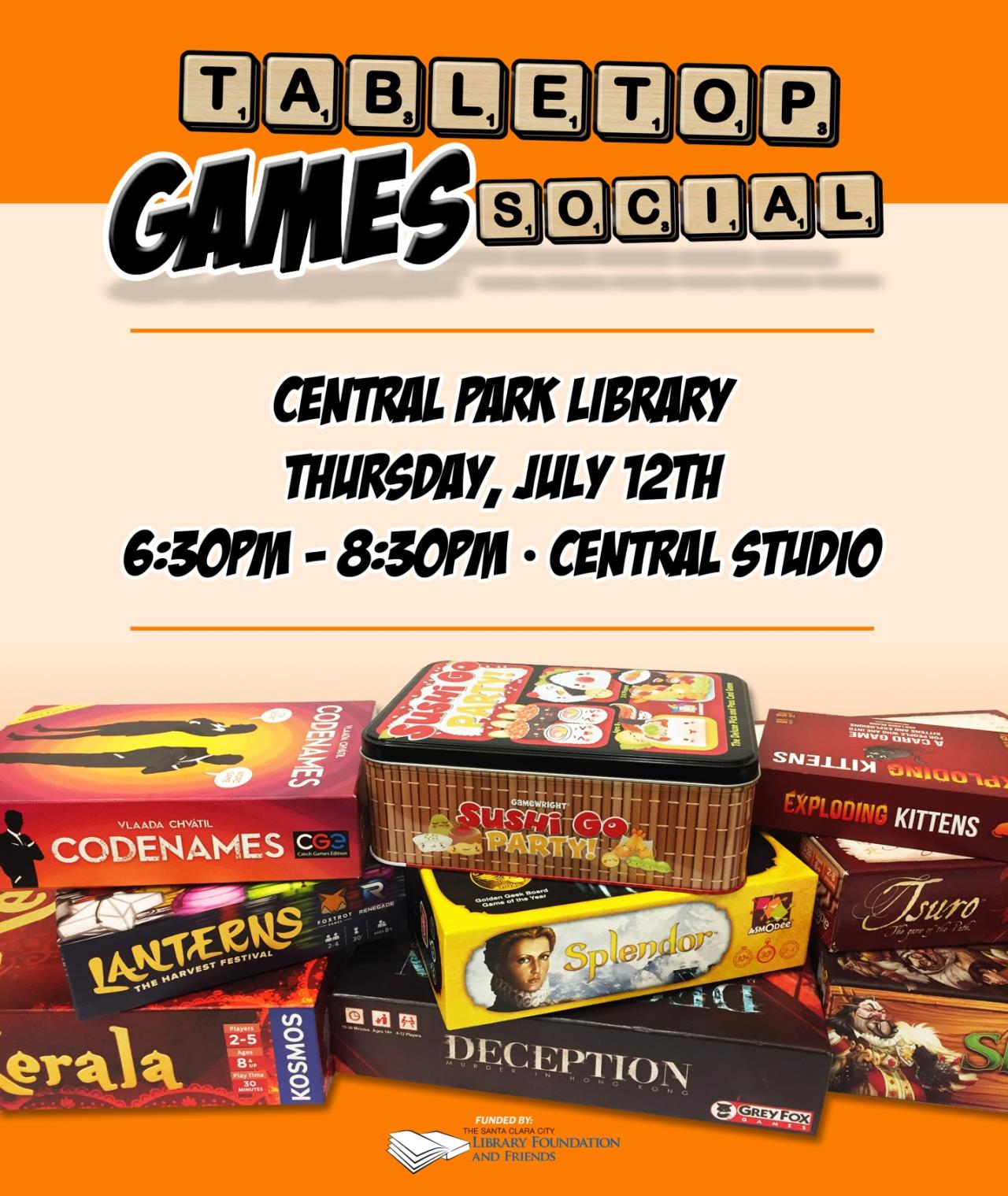 Tabletop games social, central park library, thursday July 12th, 6:30 to 8:30, central studios