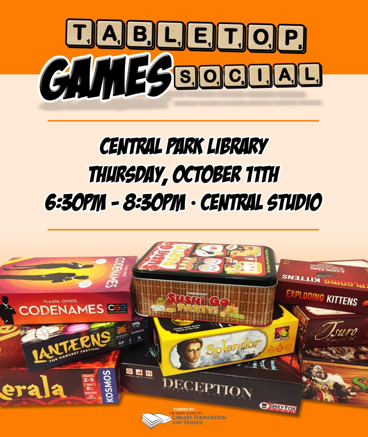 Tabletop games social, central park library, thursday October 11th, 6:30 to 8:30, central studios