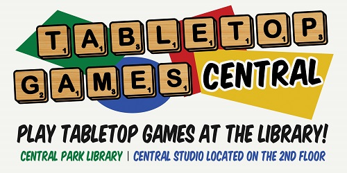 Logo for monthly tabletop gaming event at Central Park Library.