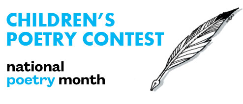 Children's Poetry Contest, Nation Poetry Month, a black and white quill.