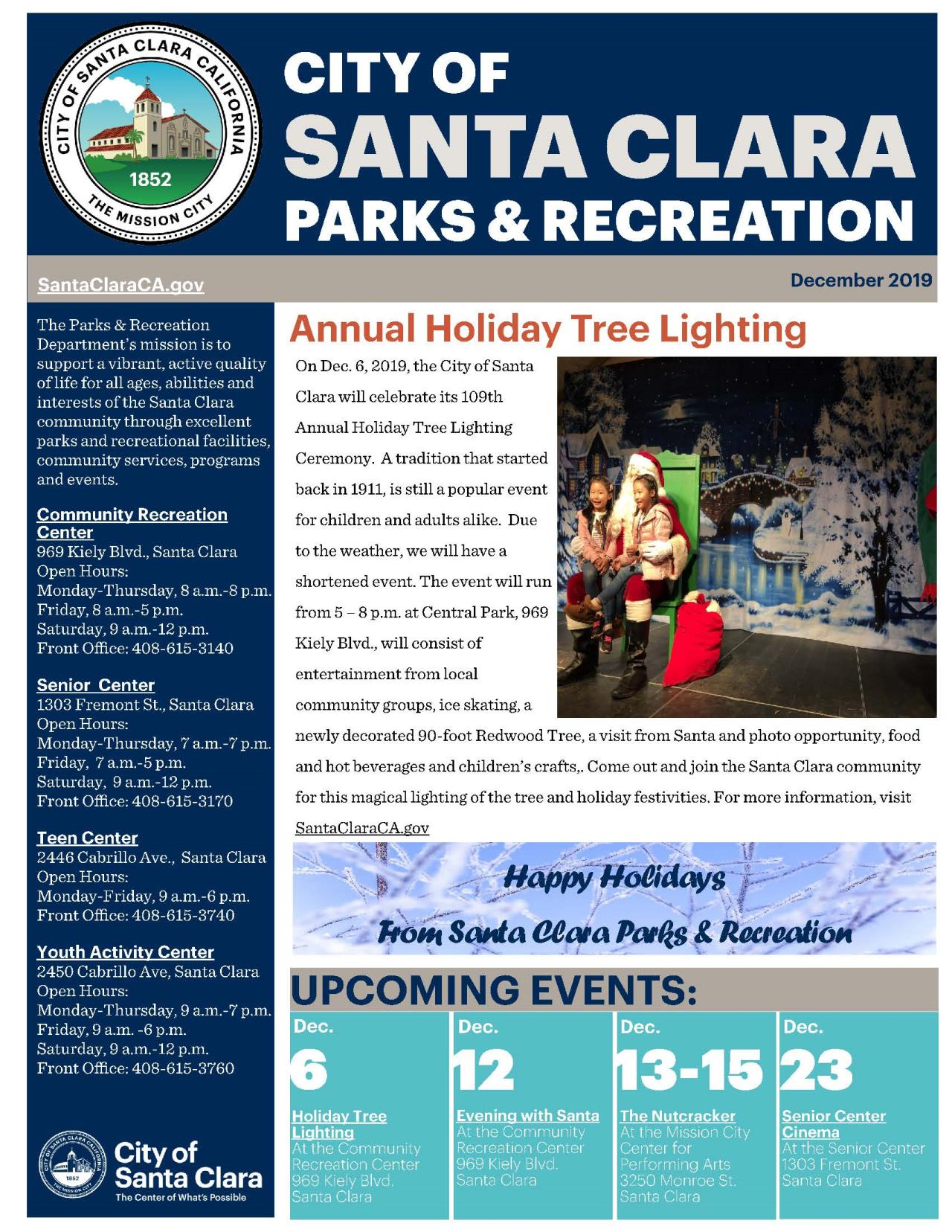 Parks and Recreation eNewsletter for December. Featuring Holiday Tree Lighting article, upcoming events and facility info