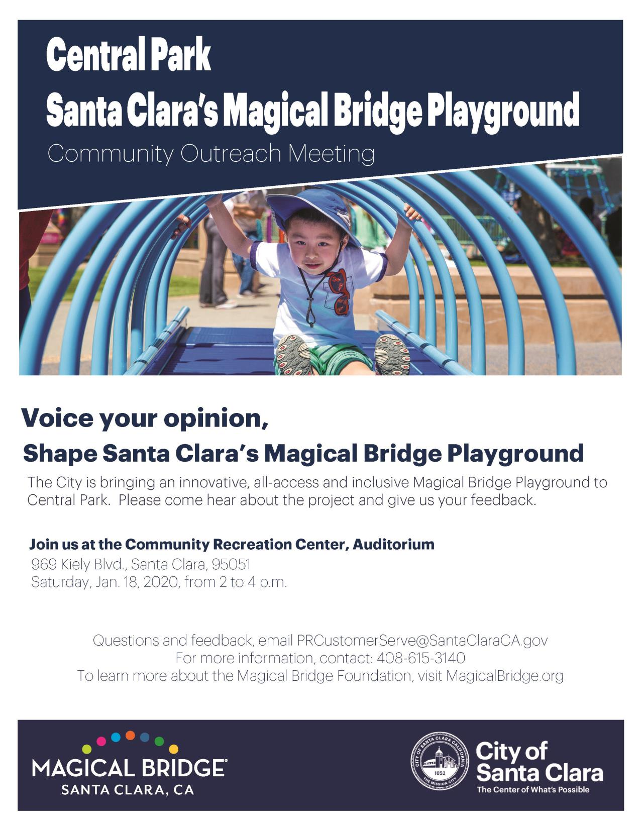 Magical Bridge Playground Community Meeting. Join us for the meeting on Jan. 18, from 2- 4 p.m. at the Community Recreation Center